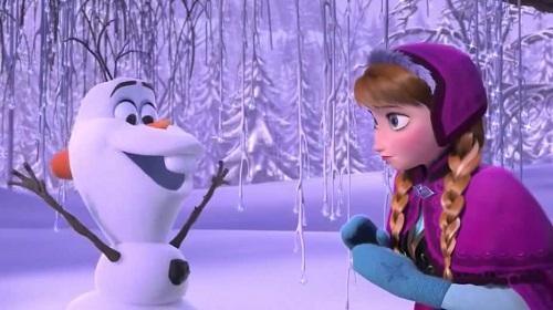Olaf en muñeco de nieve y Anna